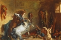 Eugene Delacroix - Arab horses fighting in a stable