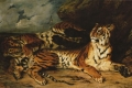 Eugene Delacroix - Young tiger playing with its mother