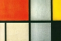 Piet Mondrian - Tableau 3 with orange red yellow black blue and gray