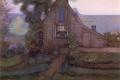 Piet Mondrian - Triangulated farmhouse facade with polder in blue