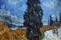 Vincent Van Gogh - Strada con cipresso e stella